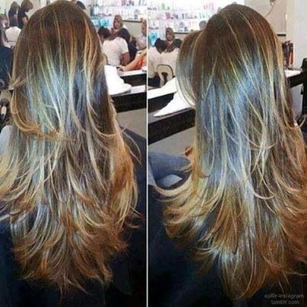Corte de cabello en capas largas 1