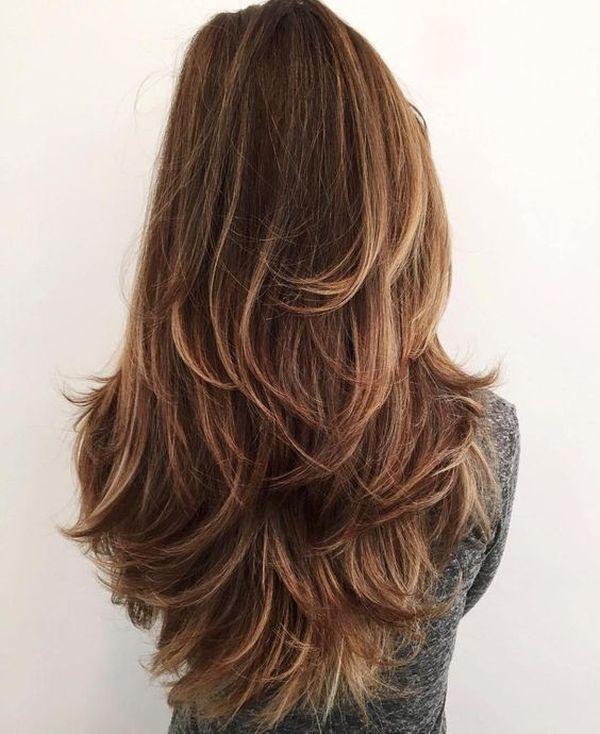 orte de cabello en capas largas por detrs 1