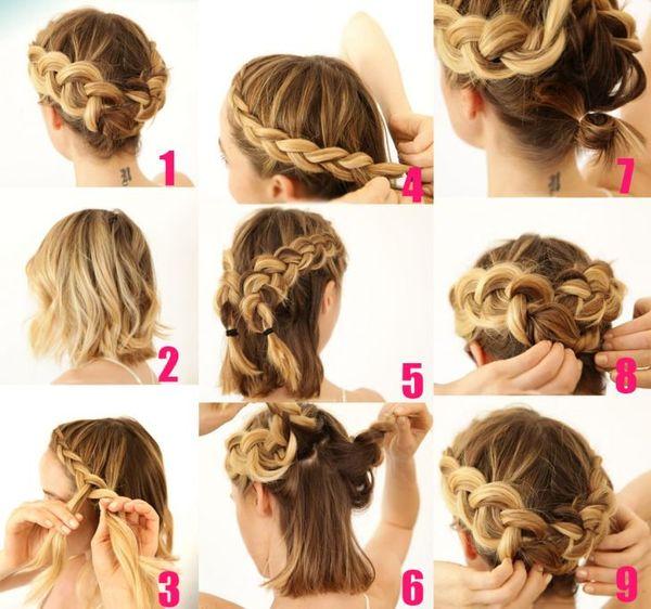 Peinados de cabello corto con trenzas paso a paso 2