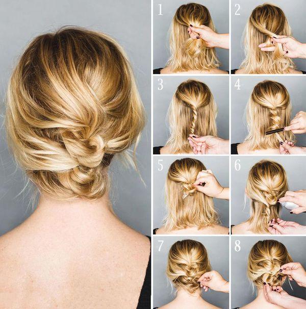 Peinados de cabello corto con trenzas paso a paso 3