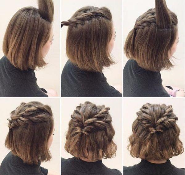 Peinados de cabello corto con trenzas paso a paso 4