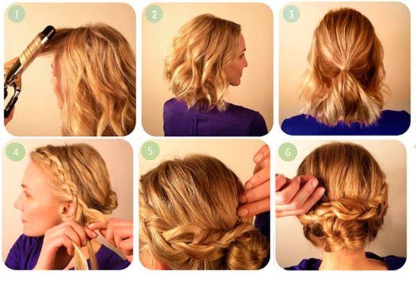Peinados de cabello corto con trenzas paso a paso 5