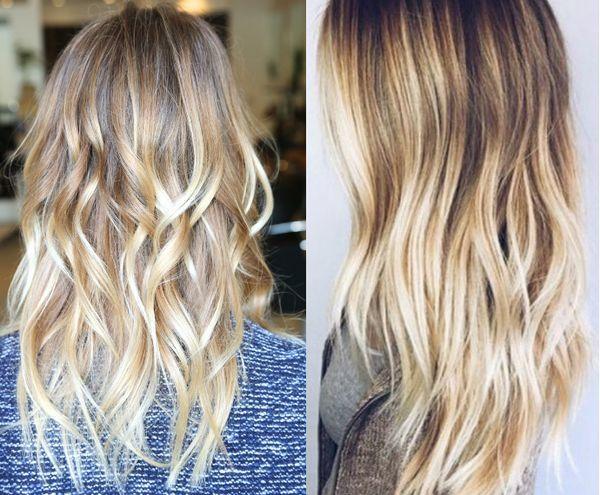 Balayage fr die blonden Haare mit Strhnen 2
