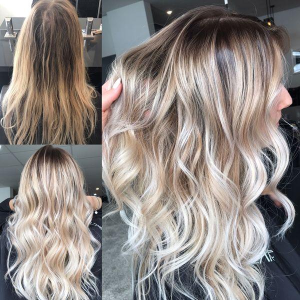 Balayage fr die blonden Haare mit Strhnen 4