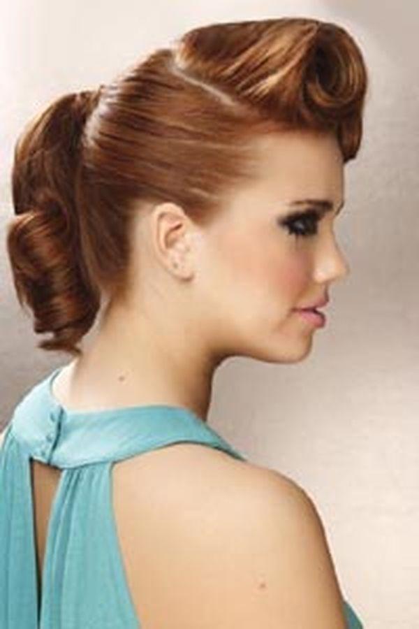 Frauen Rockabilly Frisur fr lange Haare 1