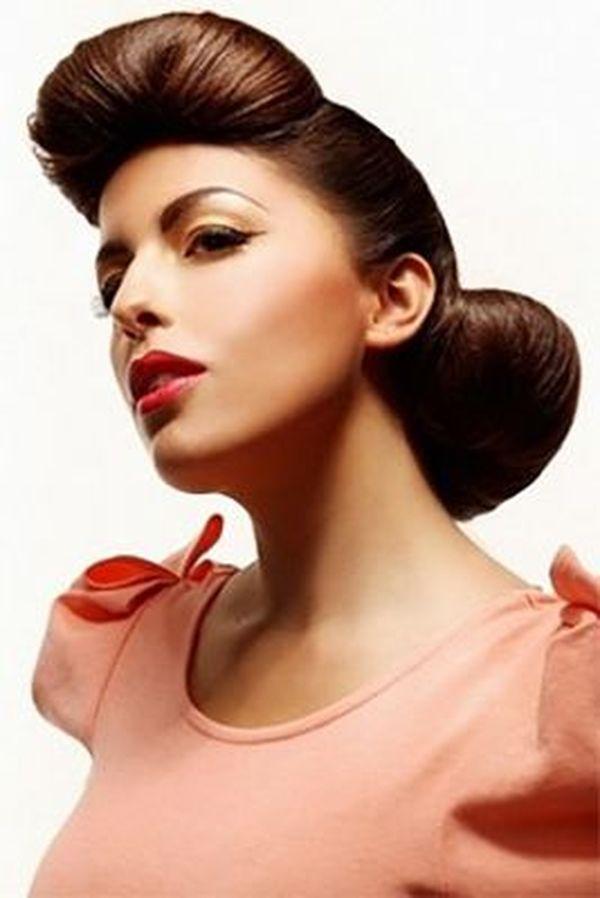 Frauen Rockabilly Frisur fr lange Haare 5