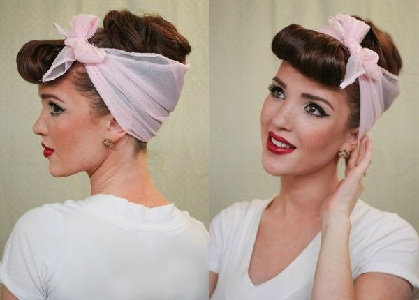 Rockabilly Haare Pin Up Frisur mit Haarband 6