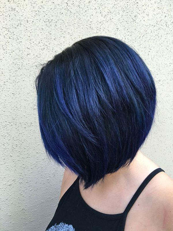 Moderne Trends der dunkelblauen Haare 2