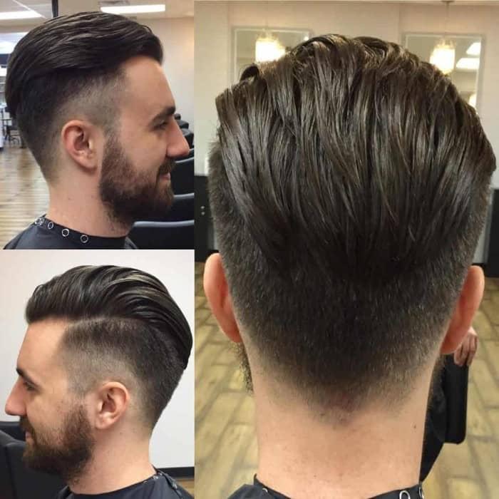 Sleek Comb Over mit angeschnittenem Hinterkopf