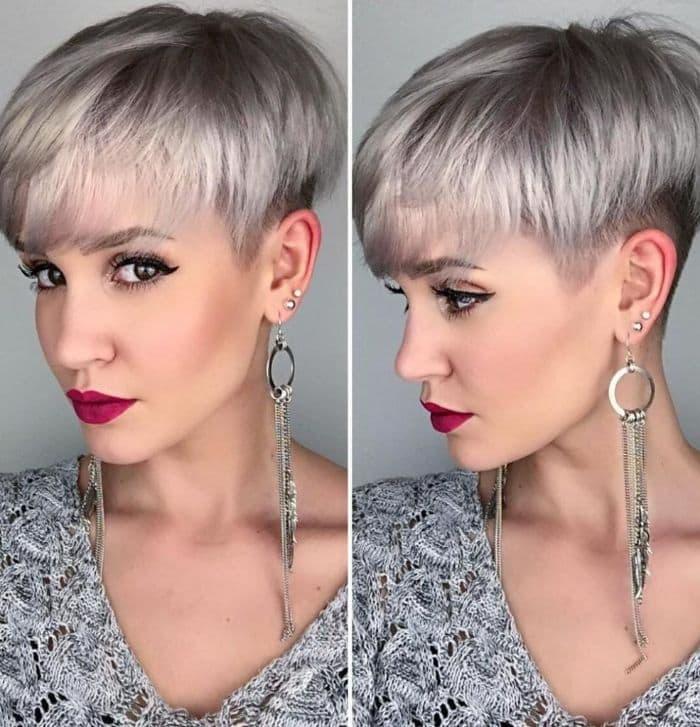 Kurzes graues Haar mit Undercut